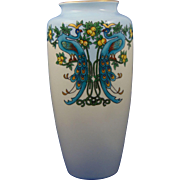 Bavaria Arts & Crafts Peacocks & Citrus Motif Vase (c.1910-1940)