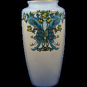 Bavaria Arts & Crafts Peacocks & Citrus Motif Vase (c.1910-1940)