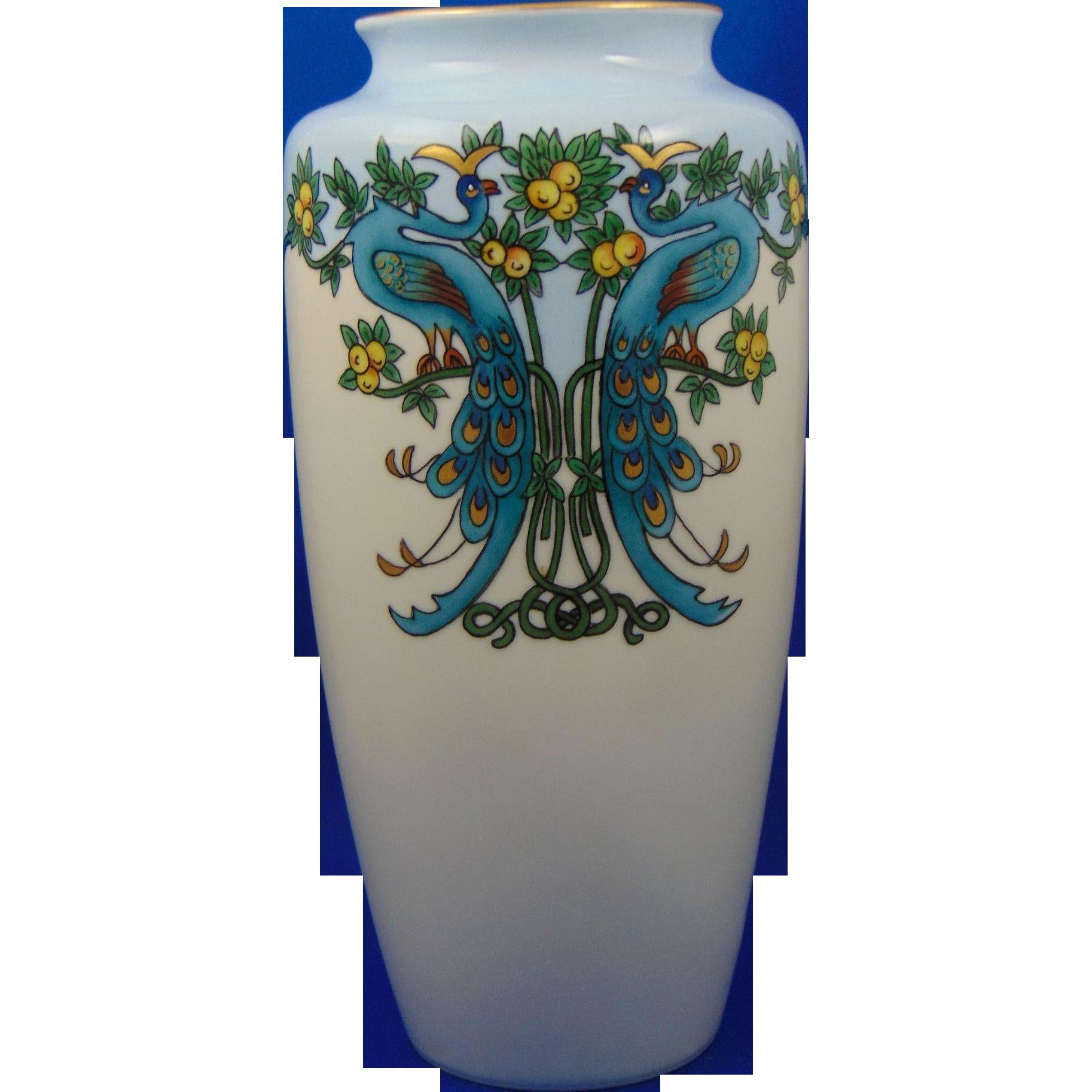 Bavaria Arts & Crafts Peacocks & Citrus Motif Vase (c.1910-1940) - Keramic Studio Design