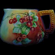 Ceramic Art Company (CAC) Belleek Cherries Motif Cider Pitcher (c.1889-1906)