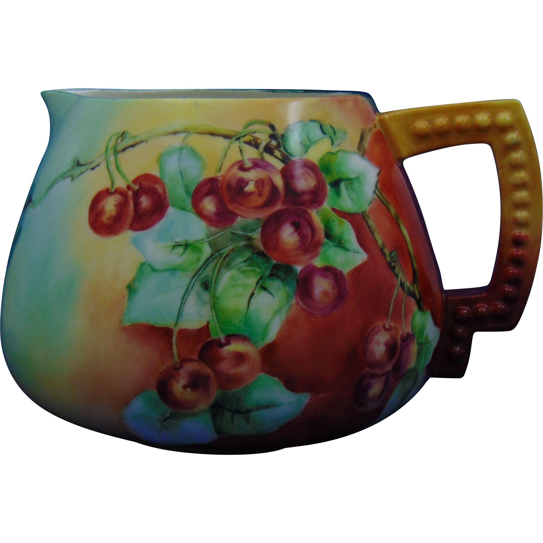 Ceramic Art Company (CAC) Belleek Cherries Motif Cider Pitcher (c.1889-1906)