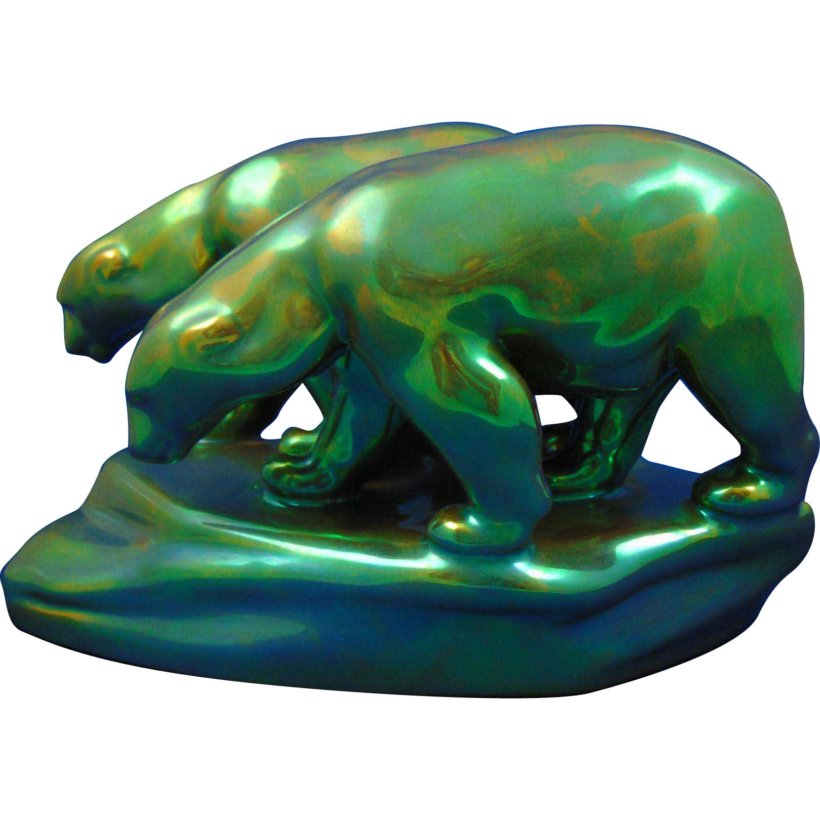 Zsolnay Hungary Eosin Green Polar Bears Figurine (c.1920-1940)