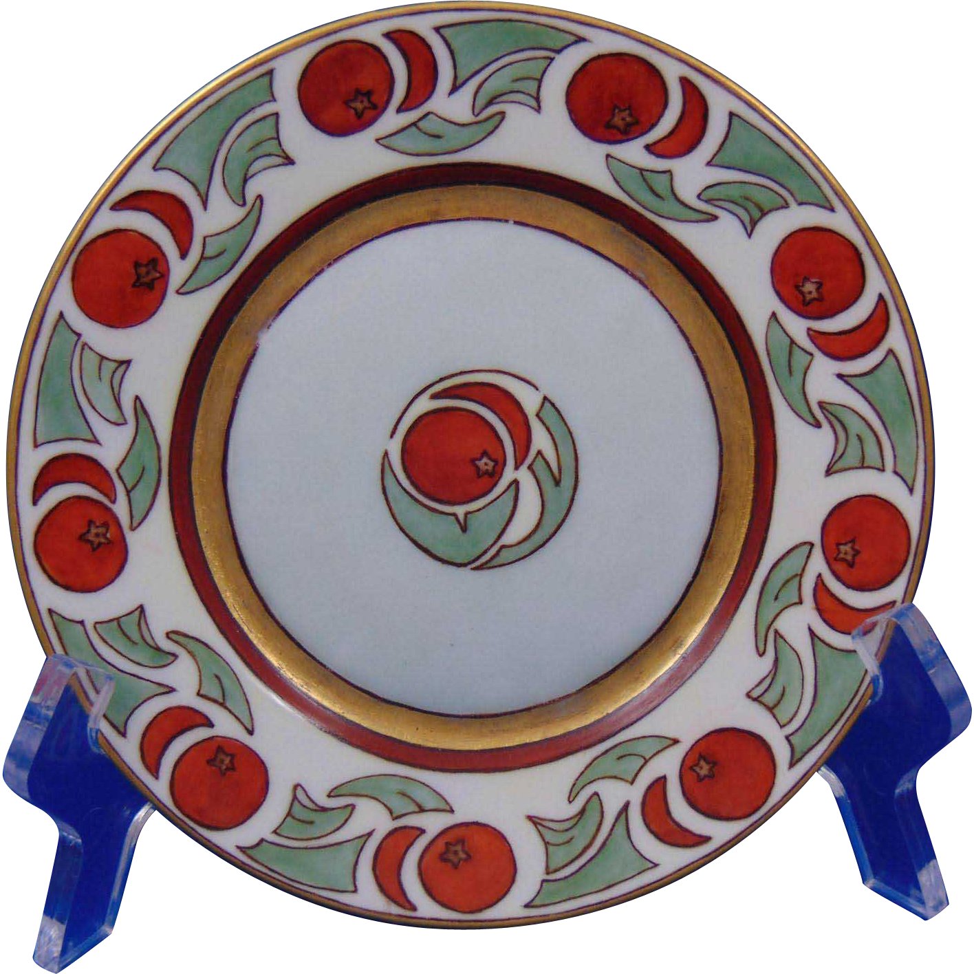 "Hutschenreuther Selb Bavaria Arts & Crafts Apple Motif Plate (Signed ""Maude Fay Beschorman""/Dated 1917)"