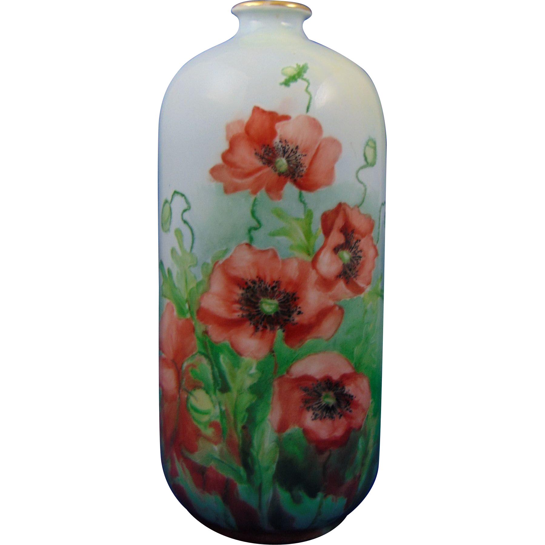 Porcelain Blank Arts & Crafts Poppies Motif Vase (c.1910-1940)