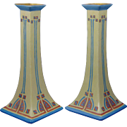 "Bernardaud & Co. (B&Co.) Limoges Arts & Crafts Candlestick Pair (Signed ""Maude Rissinger""/c.1900-1914)"