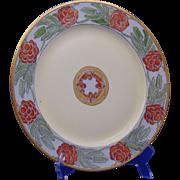 """Porcelain Limousine (PL) Limoges Arts & Crafts Pinecone Motif Plate (Signed """"H.E.K.""""/c.1905-1935)"""