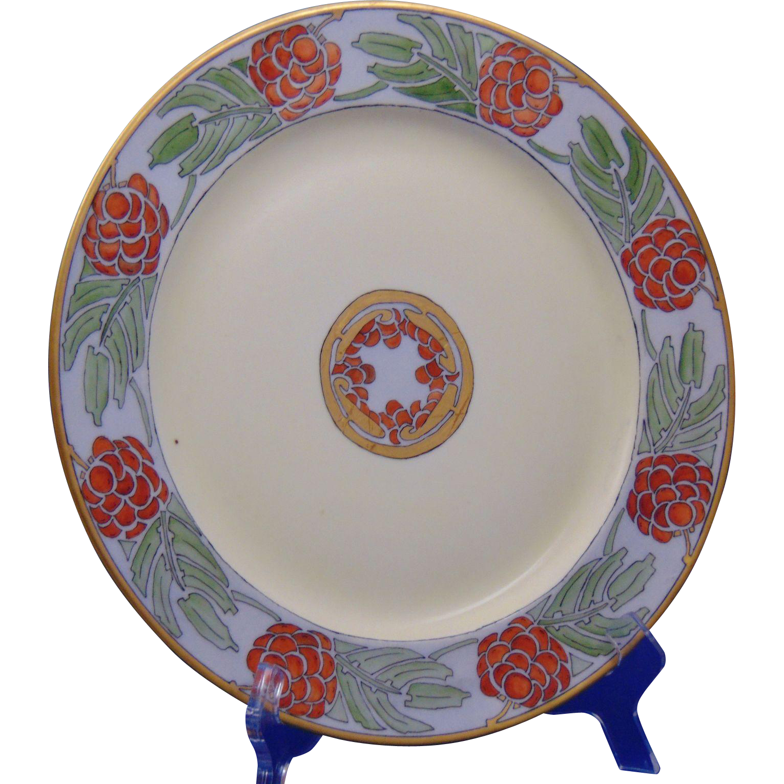 "Porcelain Limousine (PL) Limoges Arts & Crafts ""Mountain Ash & Berries"" Design Plate (Signed ""H.E.K.""/c.1915-1935)"