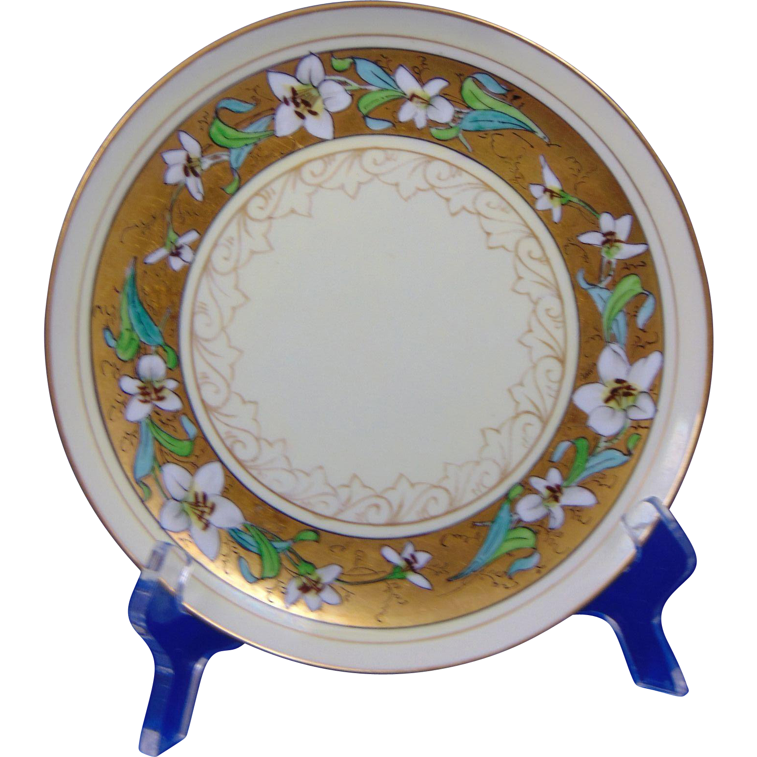 "Haviland Limoges Stouffer Studios Lily Design Plate (Signed ""Bardos"" for Isadore Bardos/c.1906-1914)"