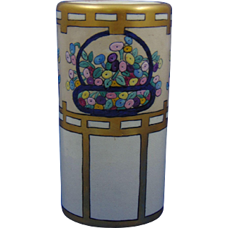 American Satsuma Enameled Flower Basket Motif Vase (c.1910-1925)
