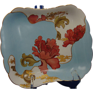 """Haviland & Co. Limoges Peony Design Dish/Tray (Signed """"MT""""/Dated 1887)"""