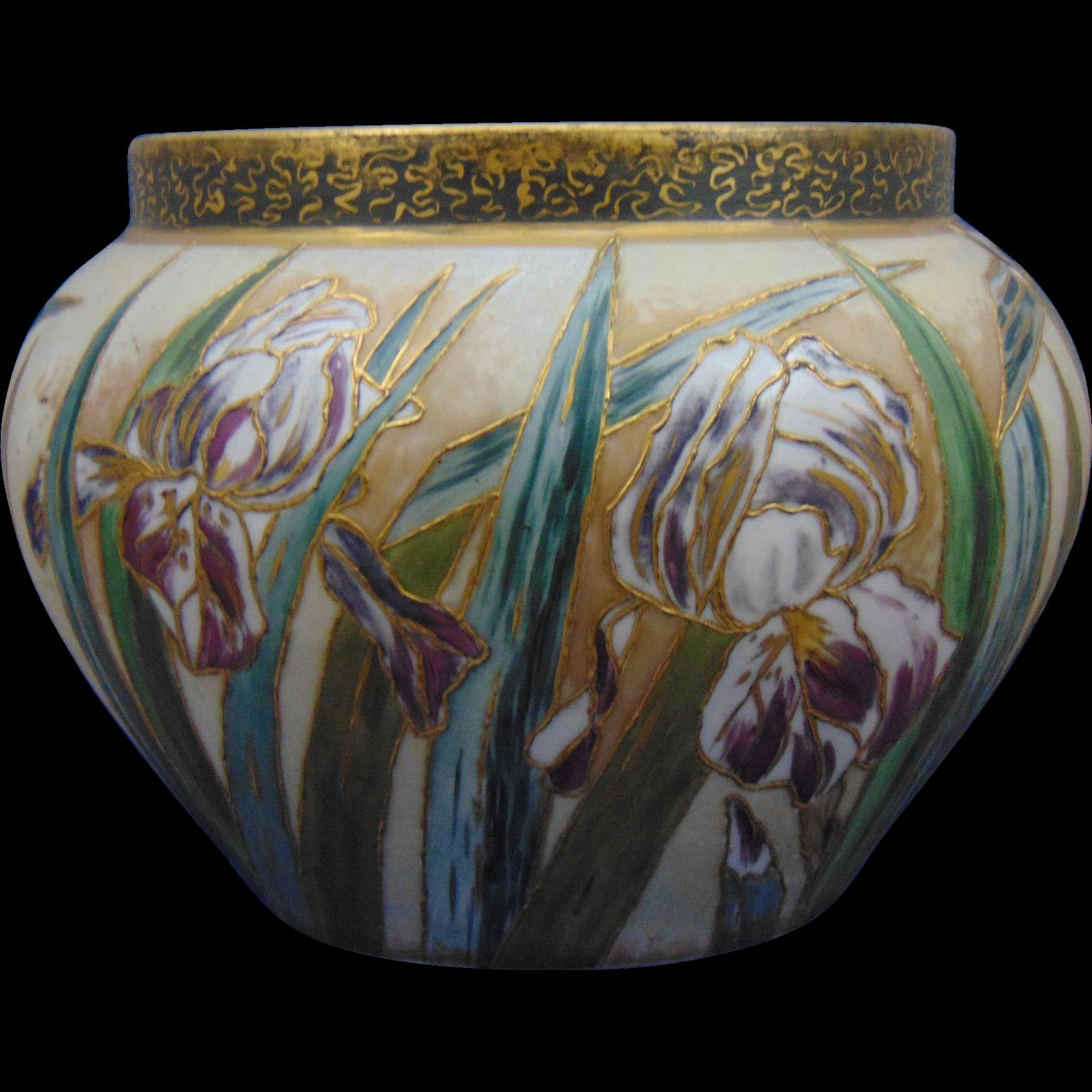 Large Delinieres & Co. (D&Co.) Limoges Iris Motif Jardinière/Vase (c.1879-1893)