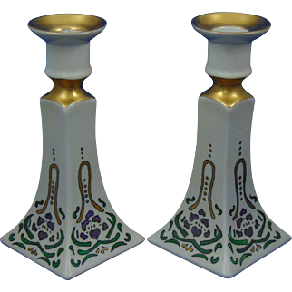 Bernardaud & Co. (D&Co.) Limoges Arts & Crafts Floral Design Candlesticks (c.1900-1914)