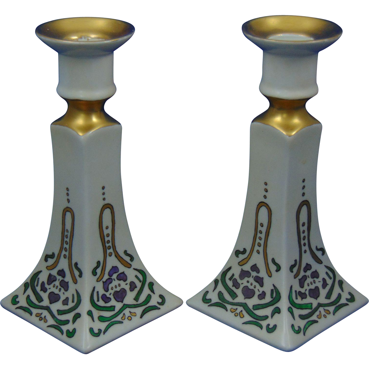 Bernardaud & Co. (D&Co.) Limoges Arts & Crafts Floral Design Candlesticks (c.1900-1914)