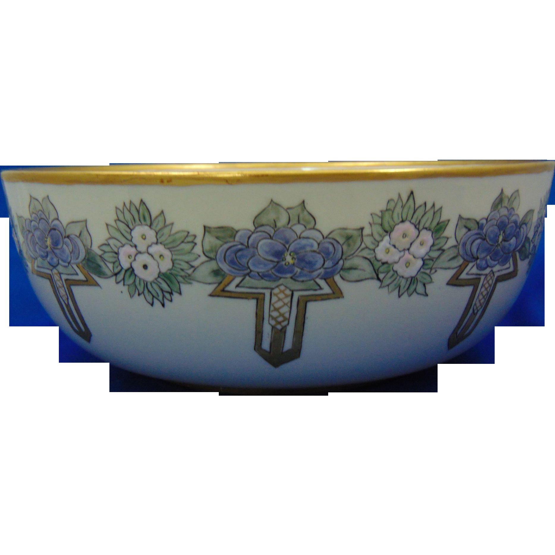 Willets Belleek Enameled Floral Design Centerpiece Bowl (c.1880-1904) - Keramic Studio Design