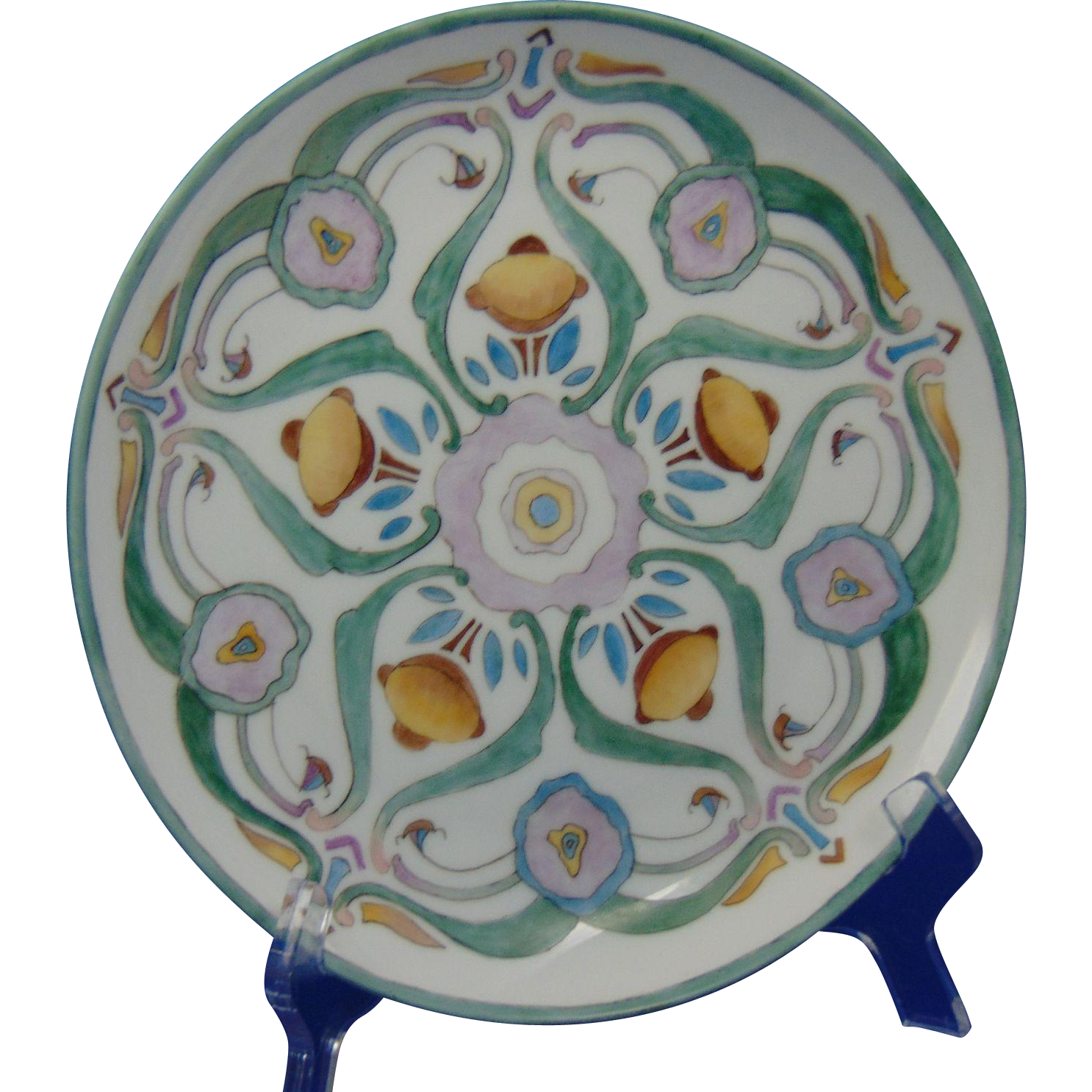 Hutschenreuther Bavaria Arts & Crafts Abstract Floral Design Plate (c.1900-1920) - Keramic Studio Design