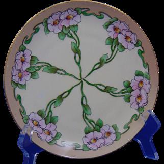 """Krister Porcelain Manufactory (KPM) Arts & Crafts Wild Rose Motif Plate (Signed """"Burnham""""/c.1904-1927)"""