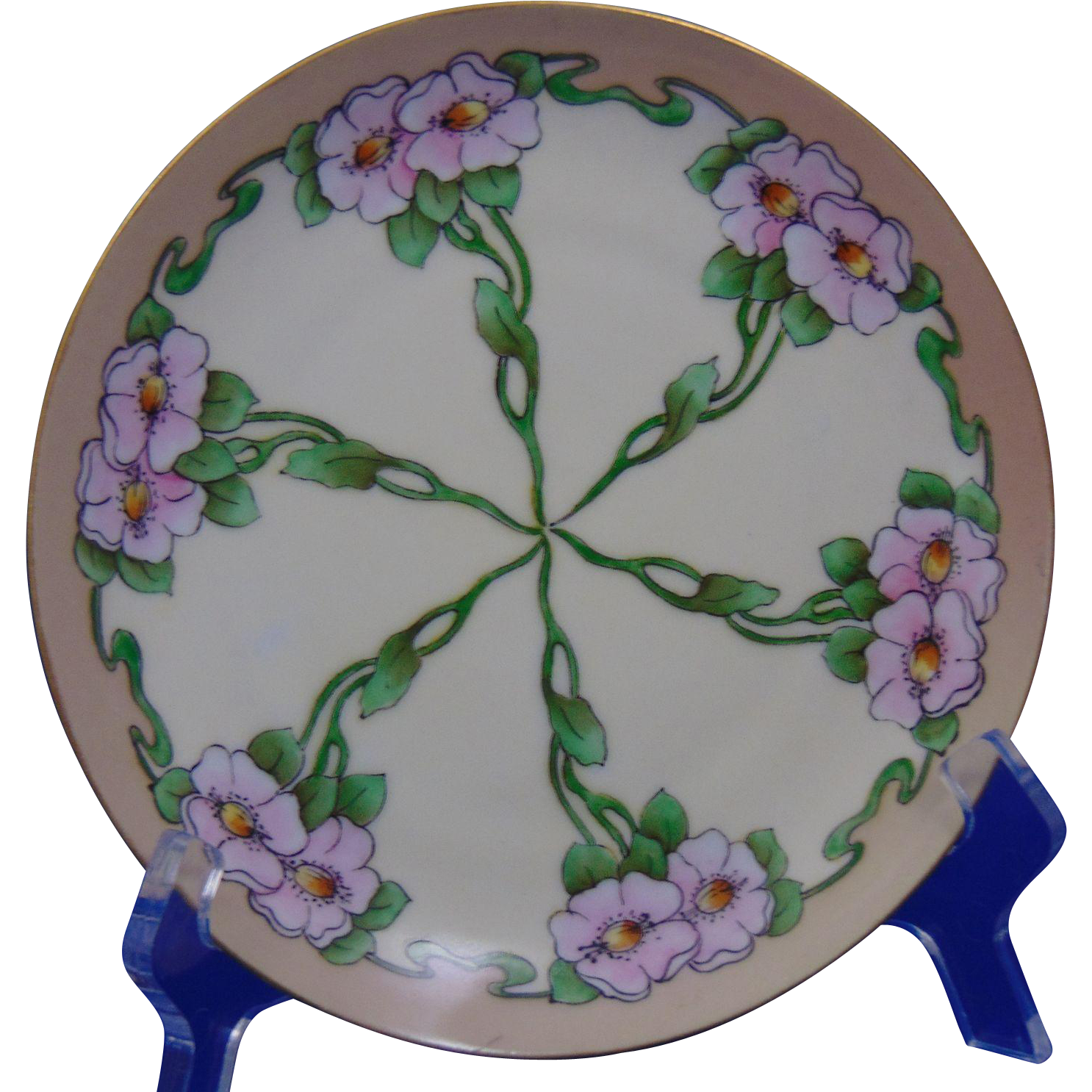 "Krister Porcelain Manufactory (KPM) Arts & Crafts Wild Rose Motif Plate (Signed ""Burnham""/c.1904-1927)"