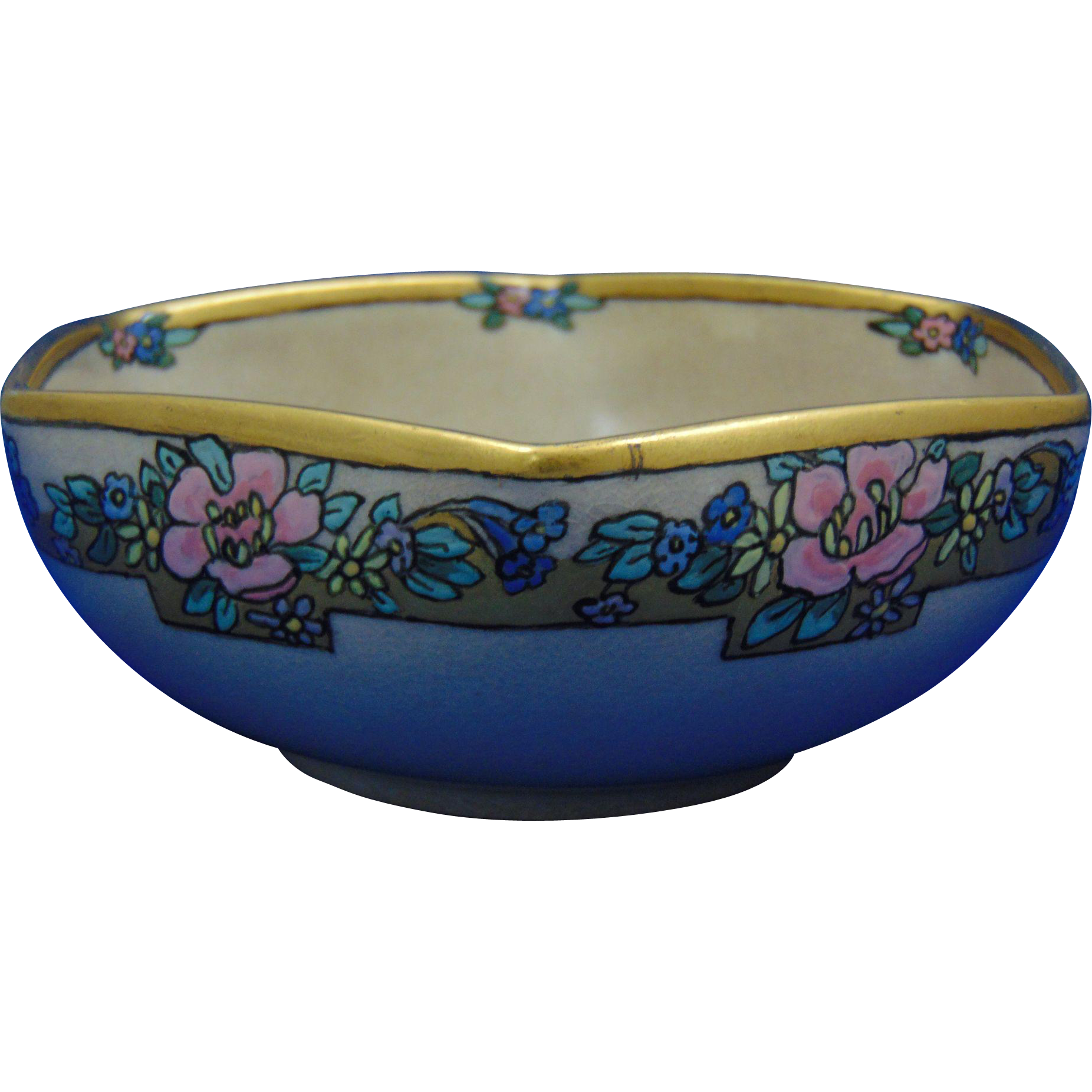 "American Satsuma Enameled Floral Motif Bowl (Signed ""Florence McConaghy""/c.1910-1930)"