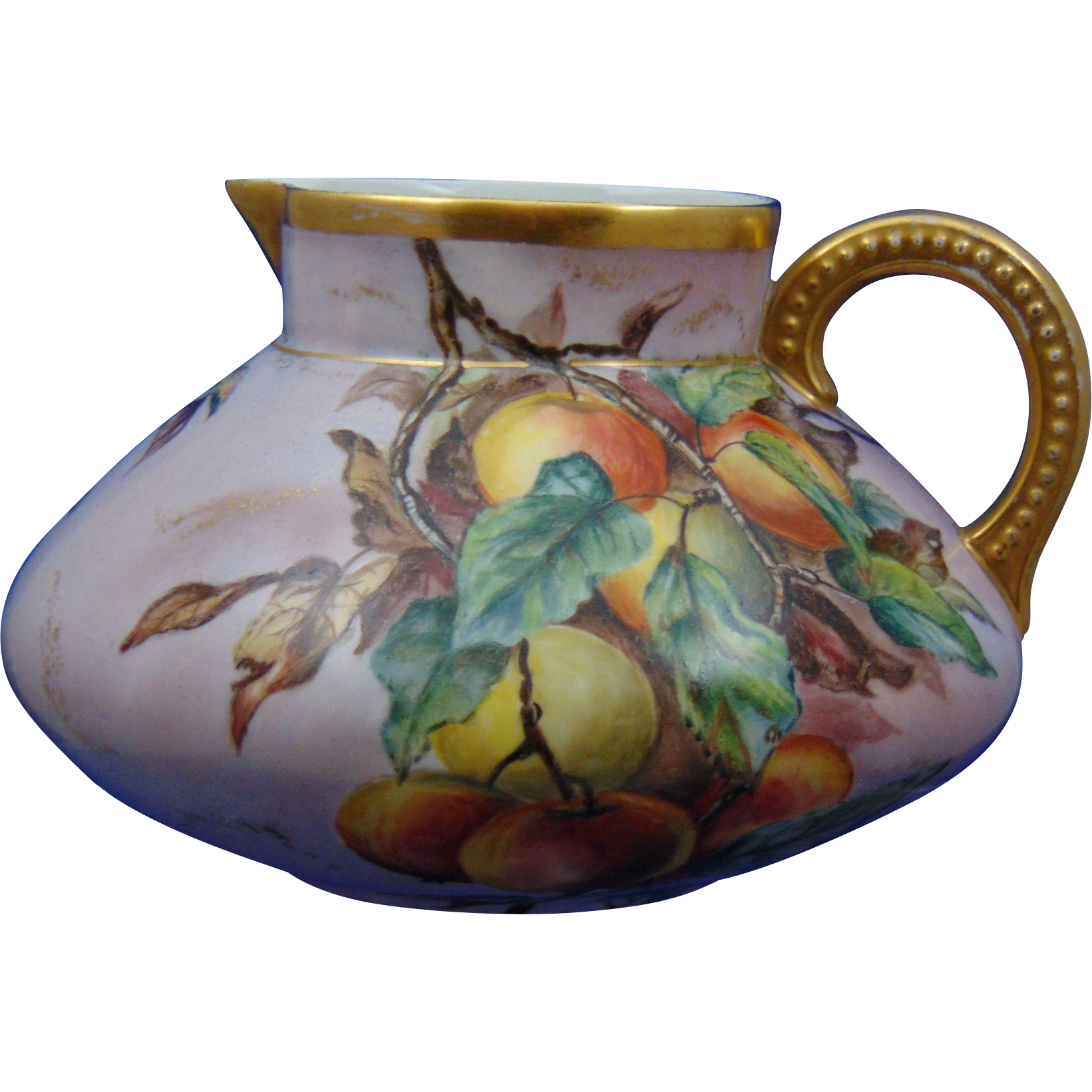 "Jean Pouyat (JP) Limoges Peach Motif Pitcher (Signed ""V.P.""/Dated 1904)"
