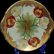 """Tressemann & Vogt (T&V) Limoges Pickard Studios """"Twin Tulips"""" Design Handled Plate (Signed """"Mges"""" for Edward P. Mentges/c.1905-1910)"""