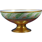 Haviland Limoges Arts & Crafts Lustre Cherry Design Pedestal Centerpiece Bowl (c.1894-1931) - Keramic Studio Design