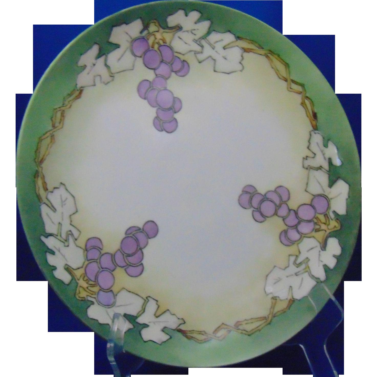 """Haviland & Co. (H&Co.) Limoges Arts & Crafts Grapes Motif Charger/Plate (Signed """"RLM""""/c.1894-1931)"""