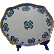 "William Guerin & Co. (WG&Co.) Limoges Arts & Crafts Blue & Green Floral Motif Tray (Signed ""Fay Blankenbeker""/Dated 1917)"