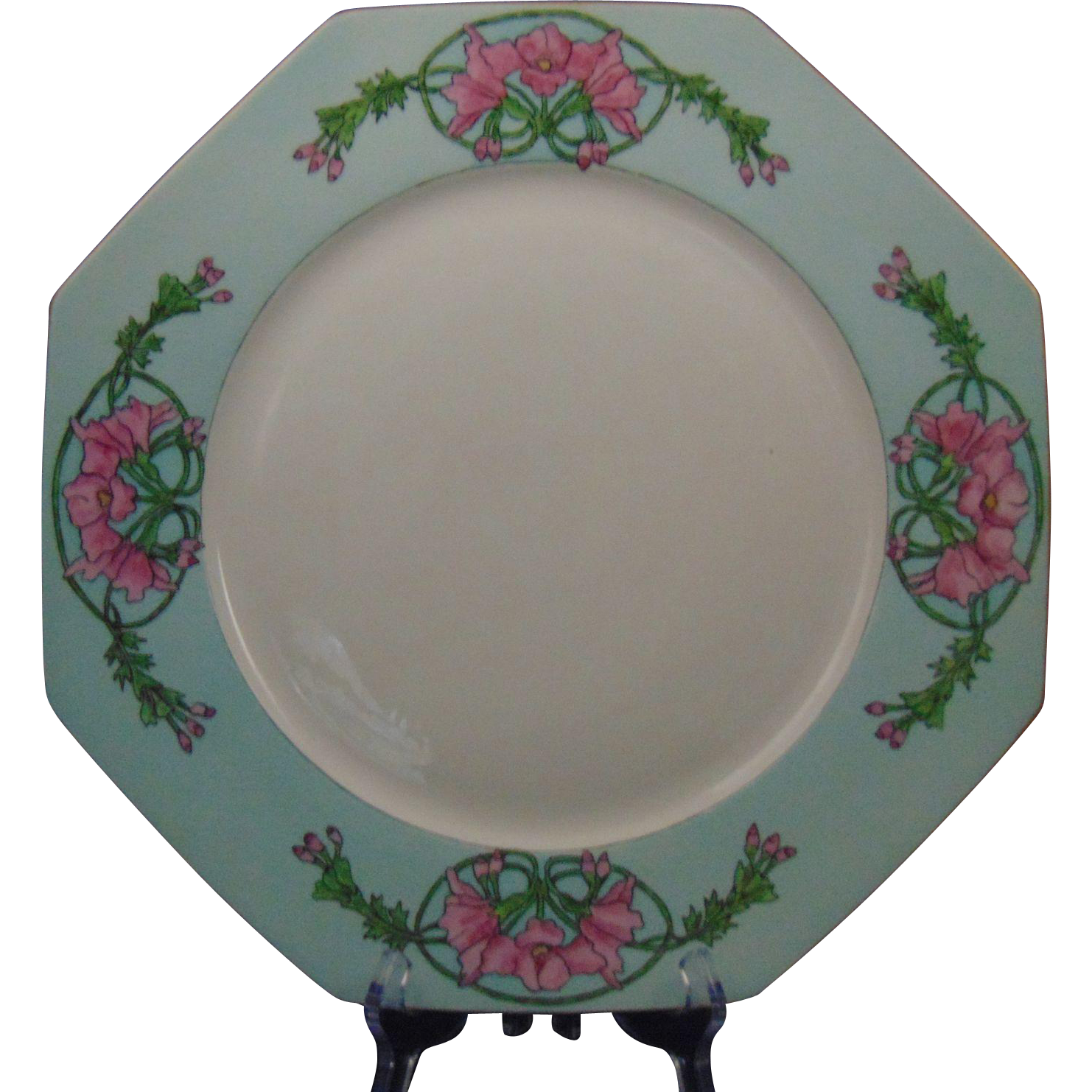 "Krautheim (K&A) Selb Bavaria ""Wild Hollyhock"" Design Charger/Plate (Signed ""To Alice from Louise""/Dated 1930)"
