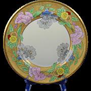 """Bernardaud & Co. (B&Co.) Limoges Etched Gold & Floral Motif Charger/Plate (Signed """"Linda Jean Kachel""""/Dated 1930)"""