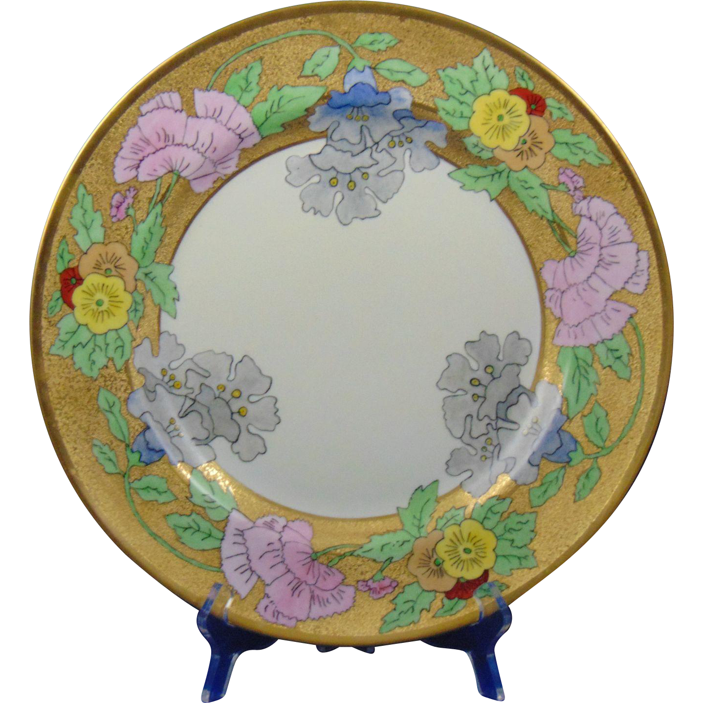"Bernardaud & Co. (B&Co.) Limoges Etched Gold & Floral Motif Charger/Plate (Signed ""Linda Jean Kachel""/Dated 1930)"