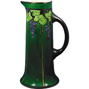 Jean Pouyat (JP) Limoges Arts & Crafts Grape Motif Tall Pitcher (Signed/Dated 1910)