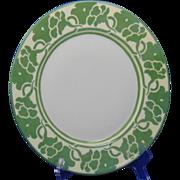 """Haviland Limoges Arts & Crafts Green Monochrome Floral Design Plate (Signed """"M.E. Hogeboom""""/c.1905)"""