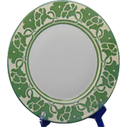 "Haviland Limoges Arts & Crafts Green Monochrome Floral Design Plate (Signed ""M.E. Hogeboom""/c.1905)"