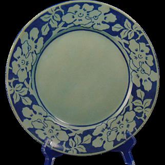 """Jean Pouyat (JP) Limoges Arts & Crafts Blue Monochrome Floral Design Plate (Signed """"M.E. Hogeboom""""/Dated 1905)"""