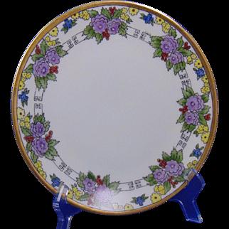 "Thomas Bavaria Arts & Crafts Floral Design Plate (Signed ""E.B.R.""/c.1908-1930)"