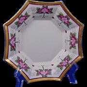 """Paroutaud Freres (P&P) La Seynie Limoges Arts & Crafts Floral Design Bowl (Signed """"E.B.R.""""/c.1910-1920)"""