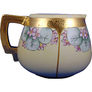 PH Leonard Austria Arts & Crafts Violets & Etched Gold Design Cider Pitcher (c.1890-1908)