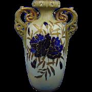 Reisner Stellmacher & Kessel (RStK) Amphora Austria Art Nouveau Enameled Blue Floral Vase (c.1890-1918)