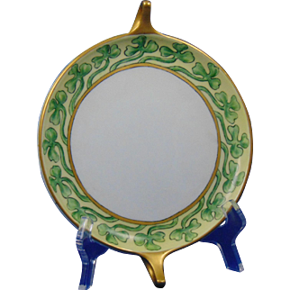 "Rosenthal Bavaria Shamrock/Clover Design Handled Plate (Signed ""Georgie Crockett""/Dated 1914)"
