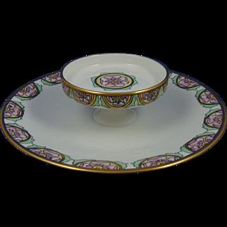 Tressemann & Vogt (T&V) Limoges Arts & Crafts Floral Motif Tiered Serving Plate (c.1892-1907)