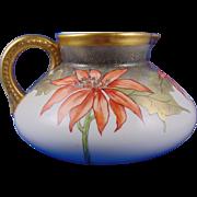 Porcelain Blank Arts & Crafts Poinsettia Motif Pitcher (c.1910-1930)