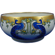 HC Royal Bavaria Arts & Crafts Peacock Motif Centerpiece Bowl (c.1910-1940)