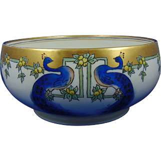 HC Royal Bavaria Arts & Crafts Peacock Motif Centerpiece Bowl (c.1910-1940)