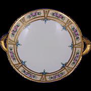 """Reinhold Schlegelmilch (RS) Tillowitz Arts & Crafts Floral Design Handled Pedestal Bowl (Signed """"J.B. Scott""""/c.1904-1938)"""