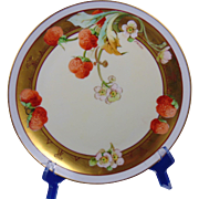 "Haviland Limoges Julius H. Brauer Studio Strawberries Design Plate (Signed ""E. Challinor""/c.1910-1906)"