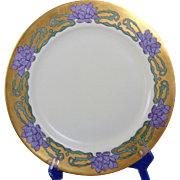 Haviland Limoges Arts & Crafts Purple & Gold Floral Motif Plate (c.1894-1931)