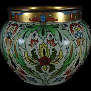 Jean Pouyat (JP) Limoges Arts & Crafts Floral Motif Jardinière/Vase (c.1890-1932)