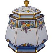 "Lenox Belleek Arts & Crafts Enameled Fruit Motif Condiment Jar (Signed ""E.W.R.""/c.1906-1924)"
