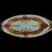 "Hutschenreuther Bavaria Pickard Studios Red Carnation & Gold Design Dish (Signed ""Loh"" for John Loh/c.1905-1910) - Red Tag Sale Item"