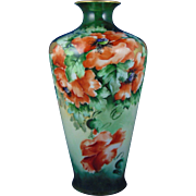 "Porcelain Limousine (PL) Limoges Poppy Motif Vase (Signed ""Graham""/c.1905-1935)"